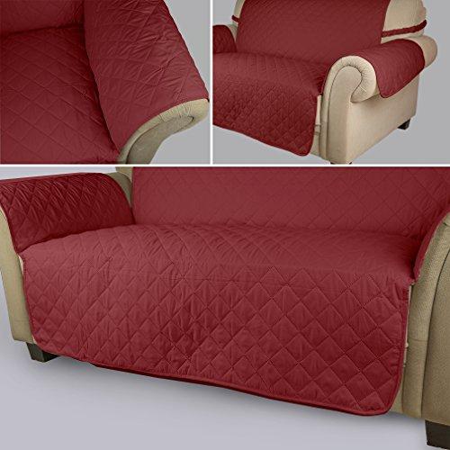 KINLO® Sofahusse 3 Sitzer 167x165 Weinrot sofa überwurf 100% Baumwolle Füllung sehr weich Sofa Abdeckung Top Qualität Sesselauflage aus Polster Material Umweltschutz schonbezug couch Elastisch 2 Jahren Grantie - 5