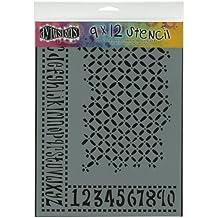 Dylusions Stencils - Plantilla de estarcido (22,86 x 30,48 cm), diseño entrelazado, de alfabeto y números
