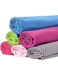 BOOMYOURS Toalla de microfibra de secado rápido para: Viajes, Deporte, Gimnasia, Yoga, Piscina, Playa (Grande / Ligera / Altamente absorbente / Compacta / Suave). Incluye GRATIS bolsa de deporte con asas