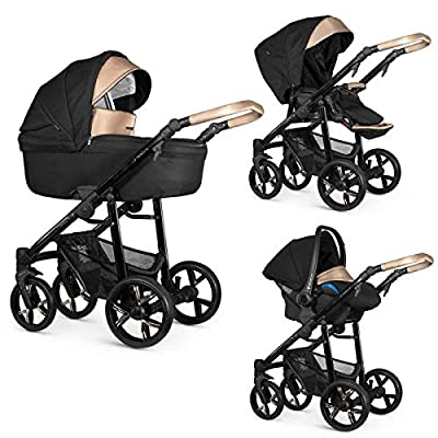 Venicci Lanco 3-in-1 Travel System - Prestige Gold Edition Black- with Carrycot + Car Seat + Changing Bag + Footmuff + Raincover + Mosquito Net + 5-Point Harness and UV 50+ Fabric + Car Seat Adapters