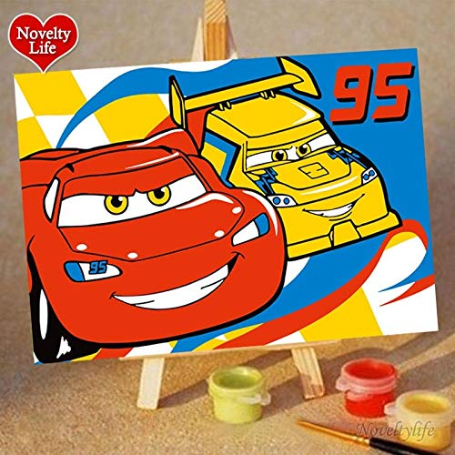 KYKDY Piccola pittura a olio fai da te all'ingrosso da numeri Cartoon bambini vernice acrilica animale gatto pittura decorativa su tela colorazione dipinta a mano, 10x15cm pacchetto borsa, auto 2