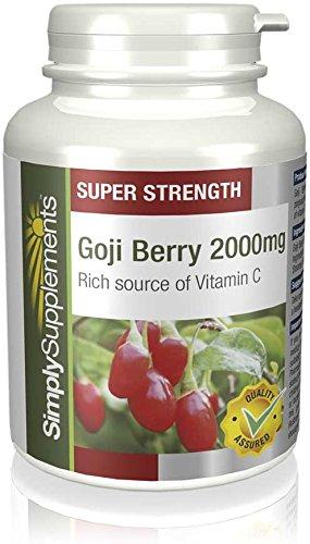 Goji Beeren Extrakt 2000mg - 360 Tabletten (2 Behälter á 180 Tabletten) - Versorgung für 1 Jahr - konzentrierter Extrakt auf natürlicher Basis - Simply Supplements