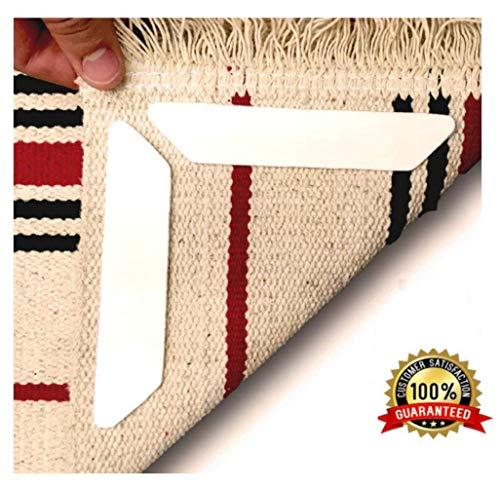 Mikuyou Antirutschmatte Teppich, Teppichgreifer Antirutschmatte Wiederverwendbar Teppichunterlage Teppichstopper, Starke Klebrigkeit für Verschiedene Böden und Teppich-Pads (8 Stück Weiß)