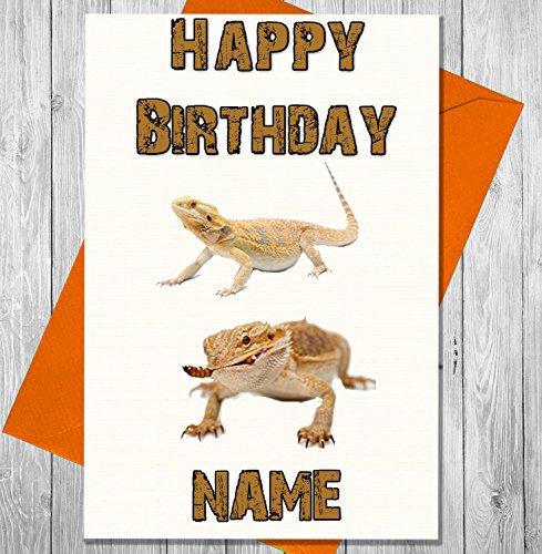 Bearded Dragon Geburtstagskarte, personalisiert, jeder Name und Alter, bedruckt auf der Vorderseite (Alligator Botschaft)