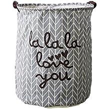 Westeng lona de almacenamiento de la cesta de la tela hogar de lavandería cubo juguetes organizador Cylindric bolsa de ropa