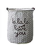 Westeng lona de almacenamiento de la cesta de la tela hogar de lavandería cubo juguetes organizador Cylindric bolsa de ropa (Gris)