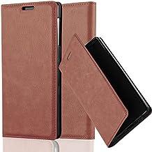 Cadorabo - Funda Book Style Cuero Sintético en Diseño Libro Sony Xperia Z1 - Etui Case Cover Carcasa Caja Protección con Imán Invisible en MARRÓN-CAPUCHINO
