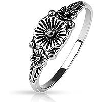 Anello da donna con 3fiori argento medio anello unghie anello in ottone rodiato)