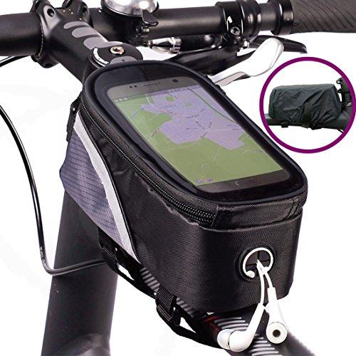 BTR Sacoche de Cadre pour vélo avec Emplacement pour Smartphone résistante à l'eau Large 1re génération + Protection