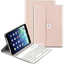 iPad mini funda con teclado,COO IPad Mini 1 2 3 Funda de teclado con teclado Bluetooth extraíble ,teclado Inalambrico QWERTY Eapañol y 360 grados de rotación Soporte de varios ángulos(Champán)