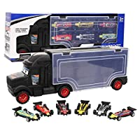 Portable Carrying Container Truck Car Set with 1 Container Truck Toy, 6 Formula Car Models, Holiday Present for Kids Above 1 Years Old