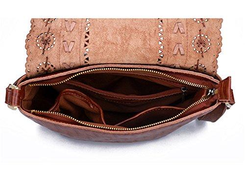 Xinmaoyuan Femme Sacs à main des femmes sac Messenger Sac rétro personnalisé cuir creux première couche de cuir Loisirs Rides Brown