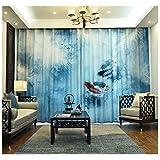 ZEZHOU Tende di Stampa Digitale della Pittura dell'inchiostro Cinese, Tende per Isolamento isolanti perforate, Camera da Letto/Soggiorno/Studio (Color : B, Size : W 1.5m*H 2.68m (One Piece))