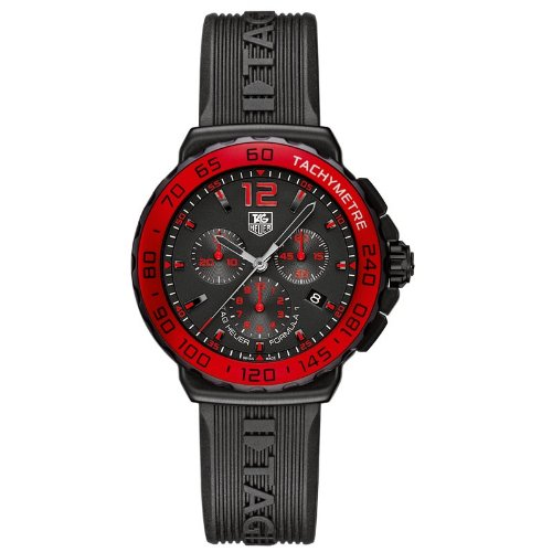 Tag Heuer Formula 1 Chronograph Red Bezel Men's Quartz Watch with Black Dial Chronograph Display and Black Rubber Strap CAU1117.FT6024