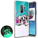 Funda Galaxy S9 Plus, Surakey Funda Luminosa para Samsung Galaxy S9 Plus ,Luminoso Funda Creativo Único Vistoso Patrón Impreso Diseño Fluorescente Efecto Verde Brillo Nocturno En la Oscuridad Ultra Delgado Transparente Claro Suave Flexible Caucho Parachoque Gelatina Gel de Silicona TPU Protector Caso Carcasa Cubrir Piel Transparente Case Cover para Samsung Galaxy S9 Plus,Cachorro de auriculares