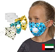 BEOLA Kids Face Mask Washable Non Medical Reusable Cotton With Valve Filter For Children