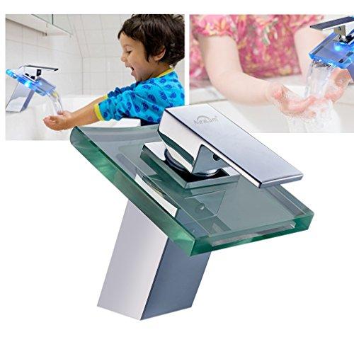 Auralum® Zeitgenössig LED RGB Glas Mischbatterie Wasserhahn Waschtisch für Waschbecken Spüle Waschtischarmatur Küchen Bad mit Batteriebox