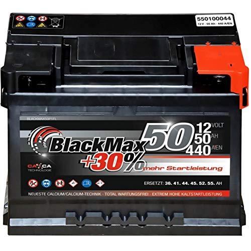 Autobatterie 12V 50Ah 440A/EN BlackMax Starter 30{2461e37d4b38b7d589e566ef57e7efcb23dafdef58dec26c47dcc9c906078d12} mehr Leistung ersetzt 36Ah 41Ah 44Ah 45Ah