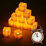 LED Kerzen, Led Teelichter quadratisch 12pcs LED Flammenlose Kerzen mit Timerfunktion Automatischer, Flackern Elektrische Kerze Lichter Dekoration für Weihnachtsbaum Ostern Hochzeit Party warme weiße(Flicker Gelb)