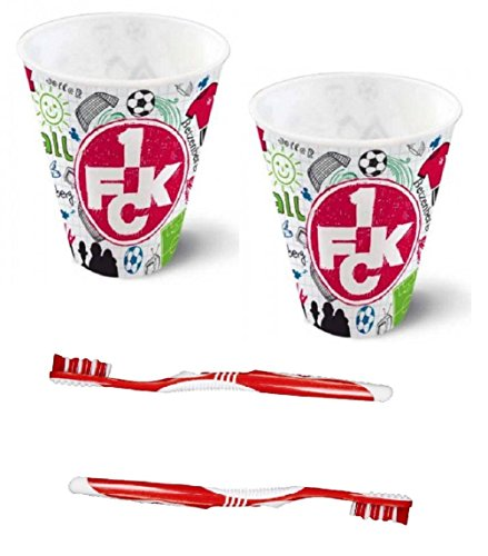 1. FC Kaiserslautern 3D Becher Kritzel + Zahnbürsten 2er Set, Zahnpflegeset - Plus gratis Lesezeichen I Love Kaiserslautern