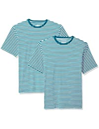 Amazon Essentials Loose-Fit Short-Sleeve Stripe Crewneck T-Shirts Uomo, Pacco da 2