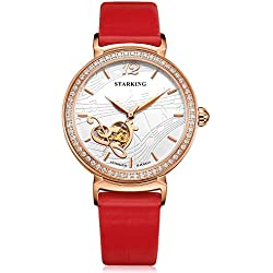 STARKING Women's AL0230RL51 Rose Gold Musical Scores Embossment Skeleton Watch with Red Leather Strap