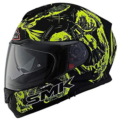 SMK MA240 Twister SKULL Graphics Pinlock Fitted Full Face Helmet With Clear Visor (X - Large)
