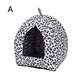 Loveless Land Comfortable Folding Pet House Kennel Dog Cat Bed Cave Tent (Black and White)