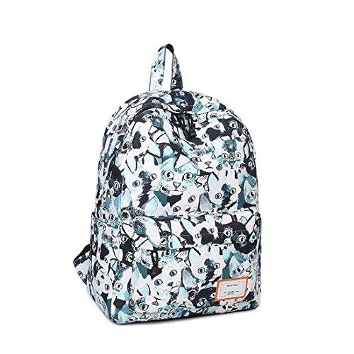 Joymoze Unisex wasserdichter und bedruckter Fashion Rucksack Süß Schule Buchtasche für Jungen und Mädchen Weißes Dreieck 830 Katzen