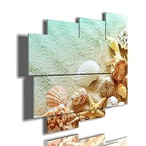 quadro moderno conchiglie multilivello 3d quadri moderni mare sole tramonto