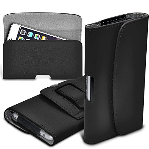 Price comparison product image I-Sonite (Black) Premium Horizontal Faux Leather Belt Holster Pouch Cover Case With Magnetic Closure For Samsung Galaxy S9