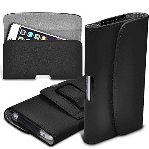 I-Sonite (Black) Premium Horizontal Kunstleder Gürtelholster Pouch Cover mit Magnetverschluss für Nokia Lumia Icon [ Large ] Icon Black Belt