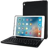 ProCase iPad Pro 10.5 Clavier Étui 2017 - 130 Degrés Tourner Couverture de Protection Stand Cas avec Intégré Clavier sans fil Bluetooth (7 Couleurs Rétro-éclairage) pour 2017 iPad Pro 10,5 Pouces -Noir