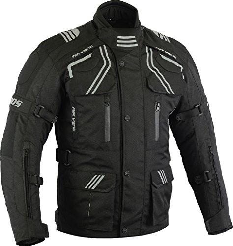 Motorradkombi Cordura Textilien Motorradjacke und Motorradhose Schwarz, (XXL)