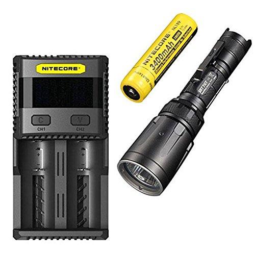 Combo: Nitecore SRT7GT Flashlight - 1000 Lumens -XP-L Hi V3 w/NL189 3400mAh 18650 & SC2 Charger Peak Amp Batterie