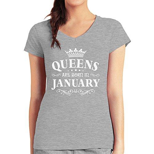 Geschenk Queens are born in January Damen T-Shirt V-Ausschnitt Grau