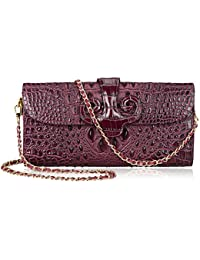 PIJUSHI Womens Embossed Crocodile Clutch Leather Tote Evening Party Handbag 91781 (Purple)