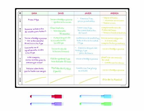 Pizarra Planificadora de Comidas y de Planes por SmartPanda - Calendario Magnético Grande Ideal para Planificar Estudios, Tareas o Dietas - Pizarra Blanca para la Nevera - Semanal, En Español