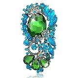 EVER FAITH® Ton d'Or Fleur Larme Broche Vert Cristal Autrichien Pendentif N02673-2