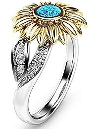 WZYMNJZ Anillos de Cristal de Compromiso para Las Mujeres Anillo Lindo de la joyería del Girasol Anillos de Boda del…