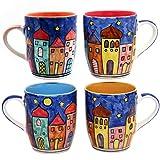 Gall/&Zick Set//4 Espressotasse mit Untertasse Mokkatasse Untersetzer Unterteller Tasse Kaffeetasse Teetasse Geschirr Set Keramik Bemalt Bunt Village Design