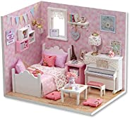 Webby Miniature Princess Bedroom Doll House with Lights (Pink)