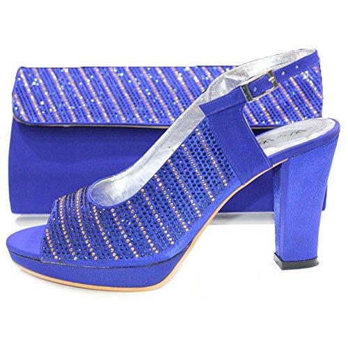 W & W Frauen Damen Kristall Strass Hochzeit Brautschmuck Schuhe und passender Tasche Größe 4–10(Eddy & MOBI) Königsblau