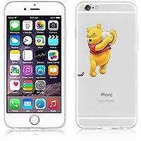 New Disney trasparente Cartoons character Minnions and others trasparente in poliuretano termoplastico per iPhone-Cover per Apple iPhone 5, 5S, 5C, 6/6S, 7 plastica, (iphone 7 /iphone 8, Winnie-With-Apple)