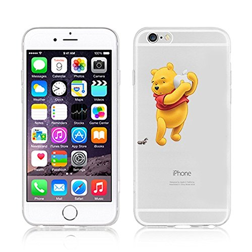 Disney Princess & Winnie The Pooh Weiche, transparente TPU-Handyhülle for iPhone 6, iphone7, 7plus & 8plus (iPhone 7/8, Winnie-with-Apple)