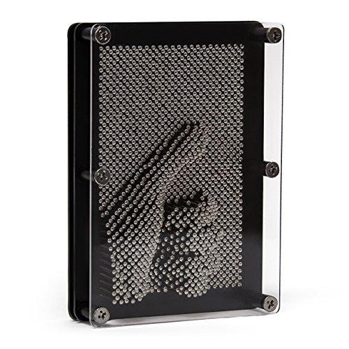 Relaxdays Pin Art 3D Pinpression oder Nagelbrett 13 x 18 cm zum kreativen Gestalten von Abbildungen von Hand, Gesicht uvm. kreatives Pinart Nagelspiel für Pinscreen Metall Skulpturen & Abdrücke