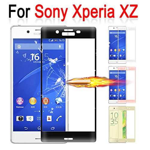 Helix Tempered Glass 5D Curved Edge 9H Premium Hardness, Edge to Edge Border Tempered Glass Protector (Unbreakable Edges) (5D) with Original Packaging for Sony Xperia XZ Dual F8332 - Black