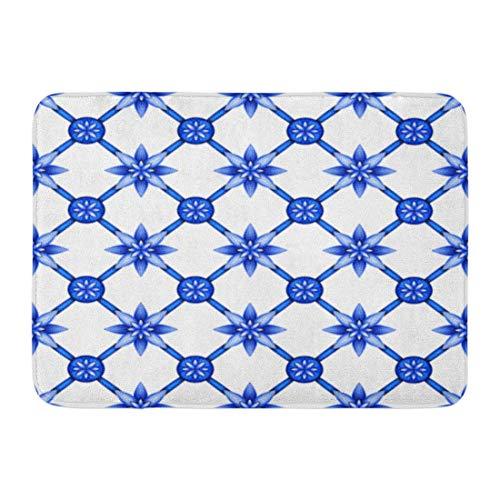 Soefipok Fußmatten Bad Teppiche Outdoor/Indoor Fußmatte Chinaware Abstract Floral Spaliermuster Blau Weiß Gzhel Fischnetz Gitter Chinesischen Badezimmer Dekor Teppich Badematte -