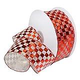 Morex Ribbon 7423.60/50–609Französischer Wired Nylon Schachbrett Folie Band, 21/5,1cm X 50YD, weiß/rot