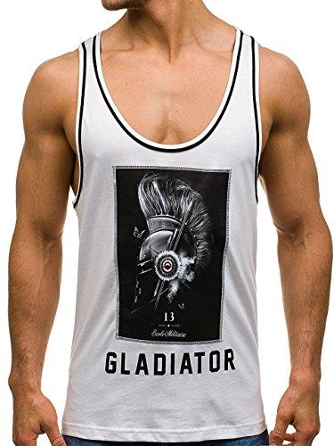 BOLF Herren T-Shirt Tank Top Tee Party Rundhals Slim Fit Motiv 3C3 Print Weiß